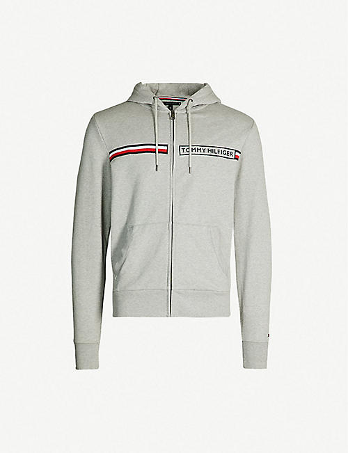 38f292491 TOMMY HILFIGER Logo-embroidered zip-up cotton hoody