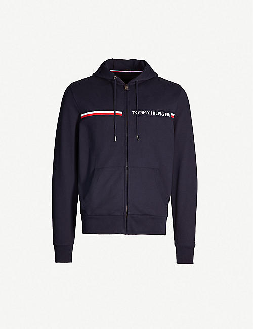 084f0e56 TOMMY HILFIGER Logo-embroidered zip-up cotton hoody