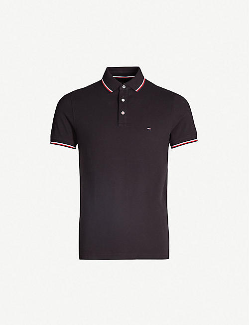 2cb9356a0d43 TOMMY HILFIGER Brand-embroidered cotton-piqué polo shirt