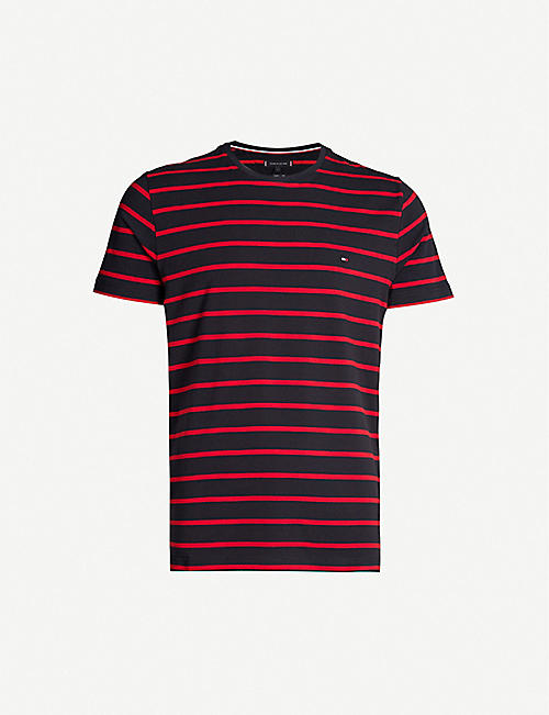9fb74912 TOMMY HILFIGER Striped stretch-cotton T-shirt