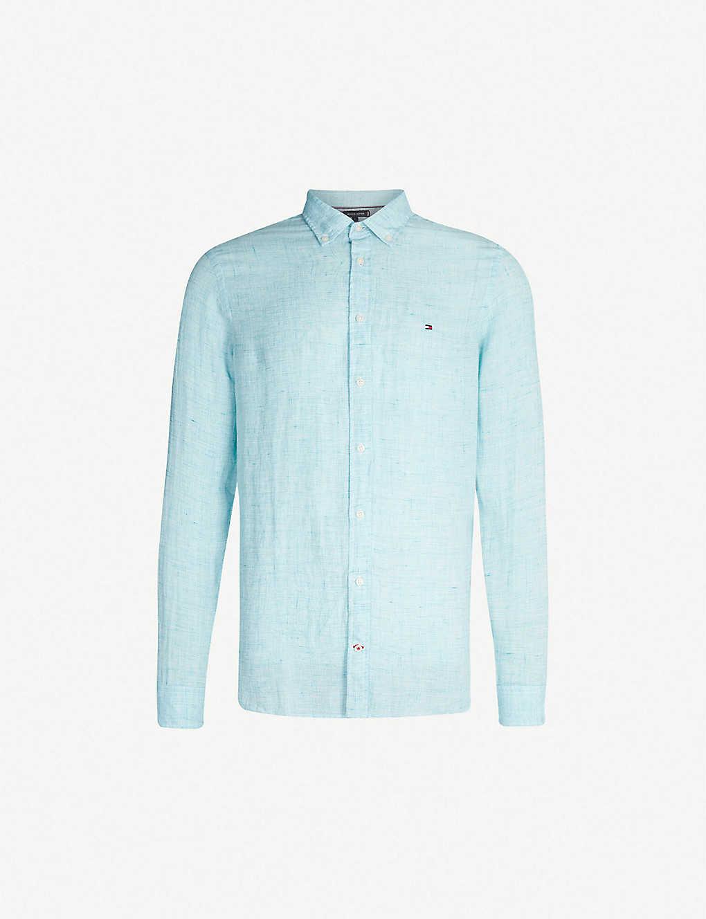 154606399 TOMMY HILFIGER - Logo-embroidered slim-fit linen shirt | Selfridges.com