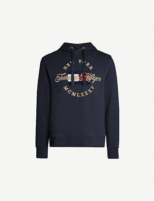 b1b271e0bba84 TOMMY HILFIGER Logo-embroidered cotton-jersey hoody