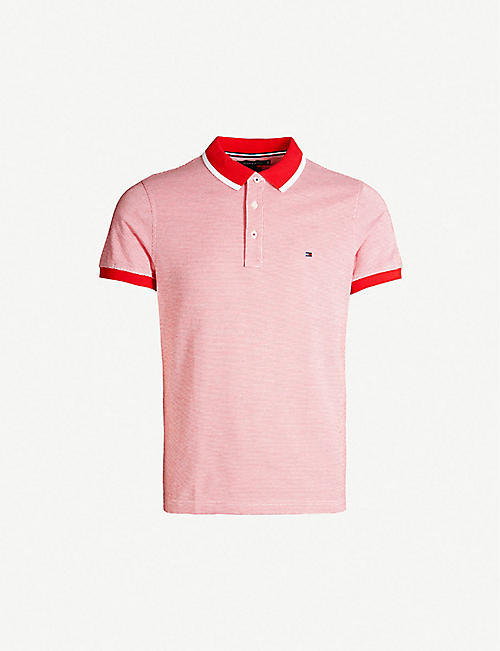 c5b3e1479 TOMMY HILFIGER Striped cotton-jacquard polo shirt