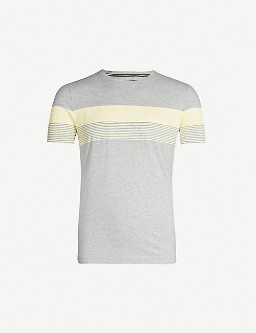 247ebe1a TOMMY HILFIGER Colour-blocked crewneck cotton-jersey T-shirt