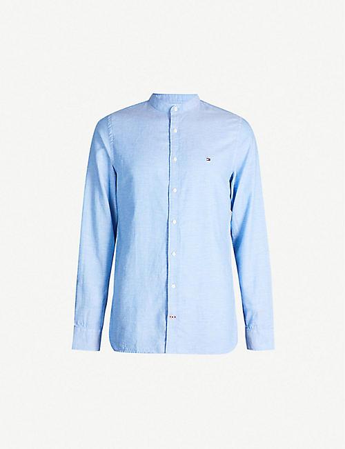 4a08d915036 TOMMY HILFIGER Logo-embroidered regular-fit cotton and linen-blend shirt