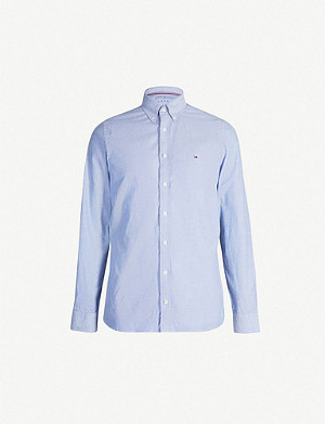 TOMMY HILFIGER Logo-embroidered organic-cotton Oxford shirt