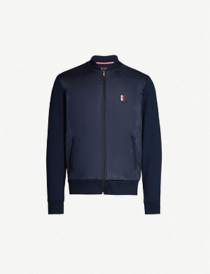 TOMMY HILFIGER Logo-embroidered woven and cotton-jersey bomber jacket