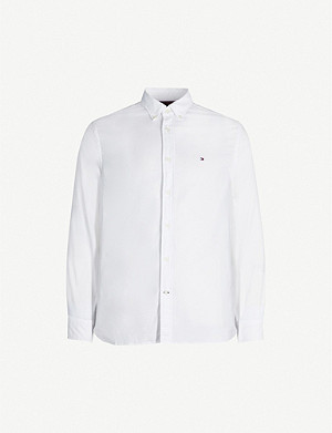TOMMY HILFIGER Logo-embroidered regular-fit stretch-cotton shirt