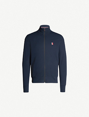 TOMMY HILFIGER Logo-embossed zip-up cotton jersey jacket
