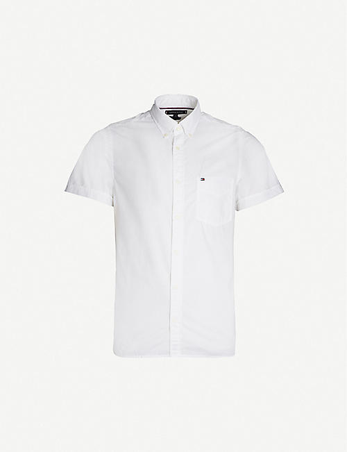 26198bbbee TOMMY HILFIGER Logo-embroidered slim-fit cotton-poplin shirt