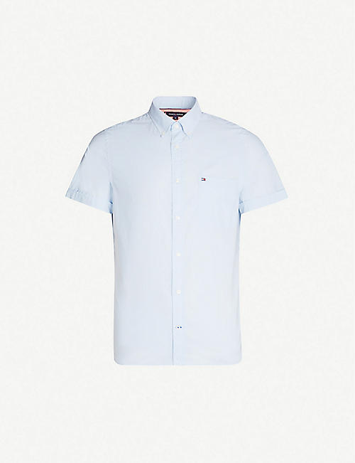 TOMMY HILFIGER Logo-embroidered slim-fit cotton-poplin shirt
