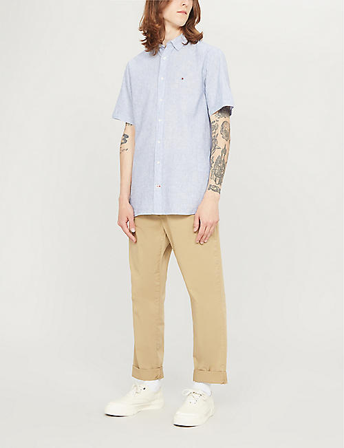 TOMMY HILFIGER Regular-fit linen and cotton-blend shirt
