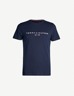 TOMMY HILFIGER Logo-embroidered cotton T-shirt