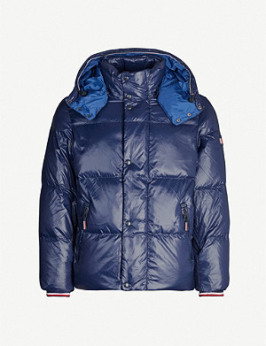 TOMMY HILFIGER Shine-effect hooded shell-down jacket