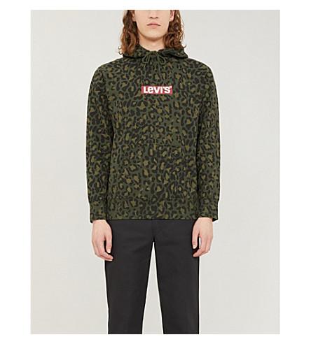 Levi's Tops Leopard-print graphic logo cotton-jersey hoody