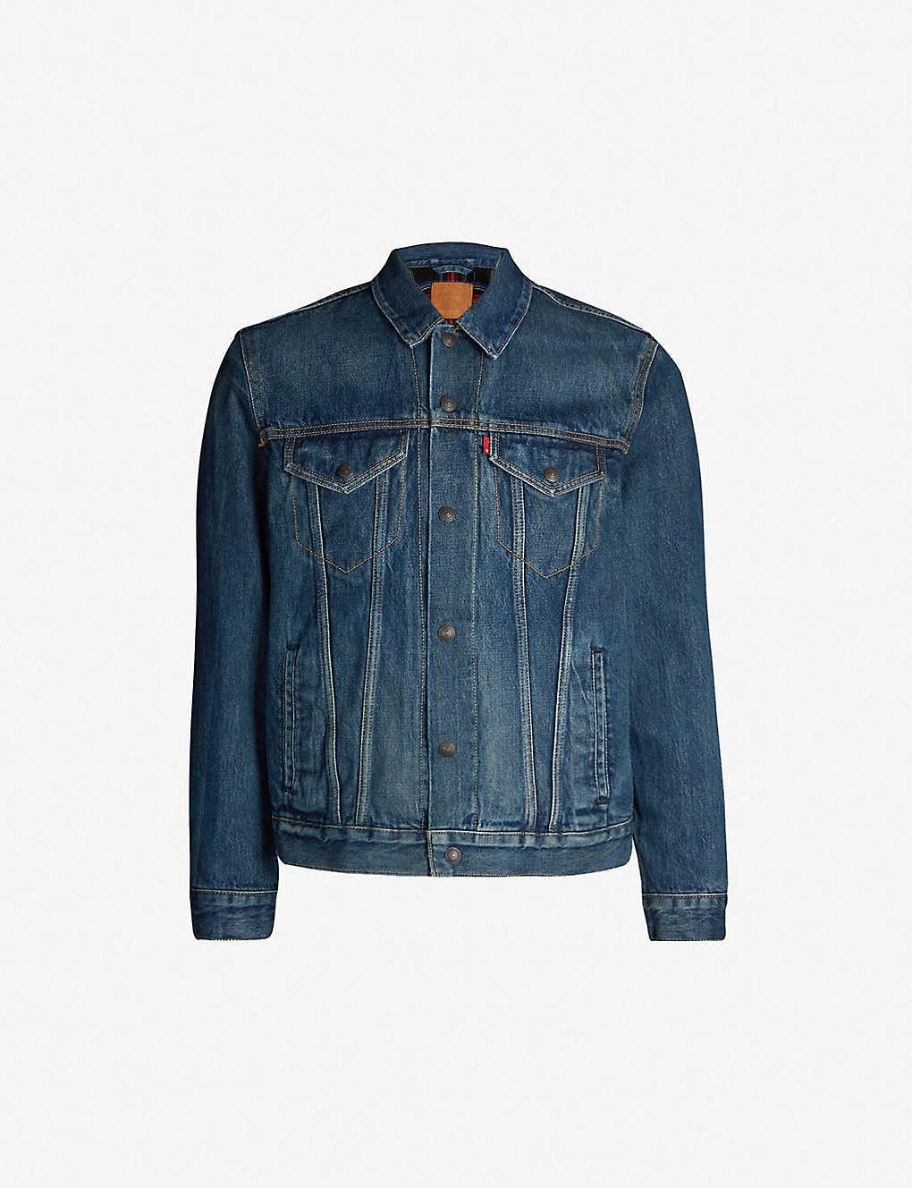 a2323a58fdb43 Flannel-lined denim trucker jacket - Chewy ...