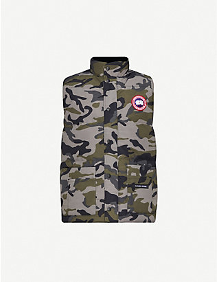CANADA GOOSE: Freestyle Crew camouflage-print shell-down gilet