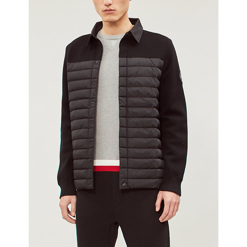 CANADA GOOSE | HyBridge Padded Shell And Knitted-Wool Jacket | Goxip