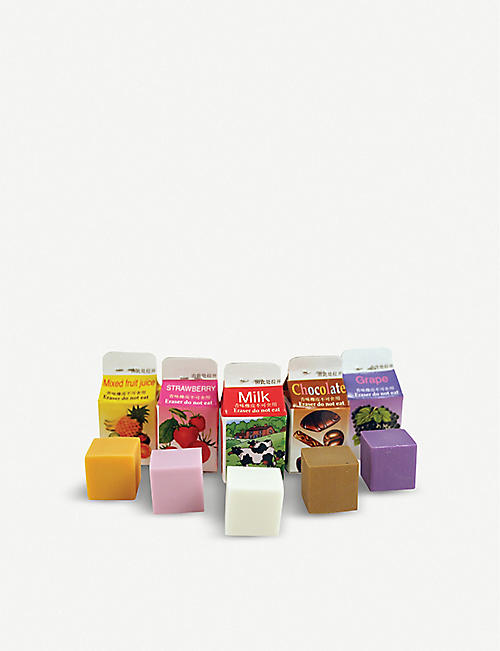 KIKKERLAND Milk scented rubbers set of five