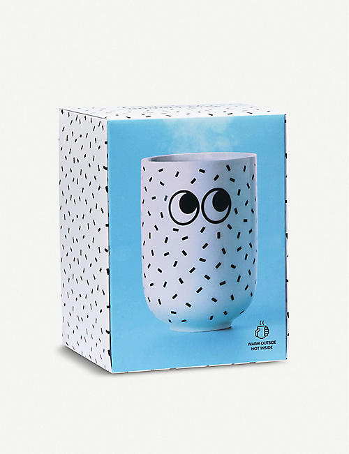 MUSTARD Googly Eyes sprinkle-print double wall mug
