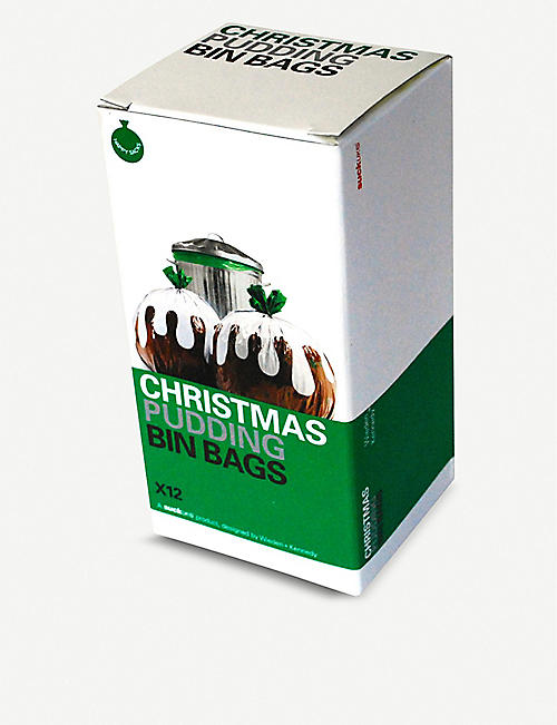 SUCK UK Christmas pudding biodegradable bin bags pack of 12