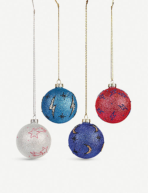 &KLEVERING Cosmic glitter baubles set of four