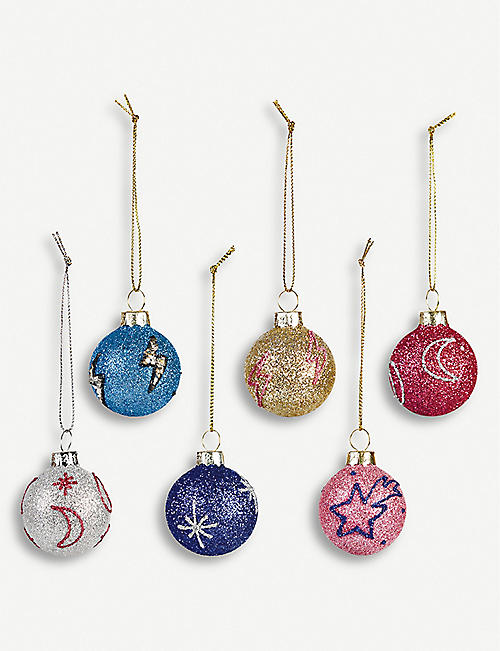 &KLEVERING Cosmic glitter baubles set of six