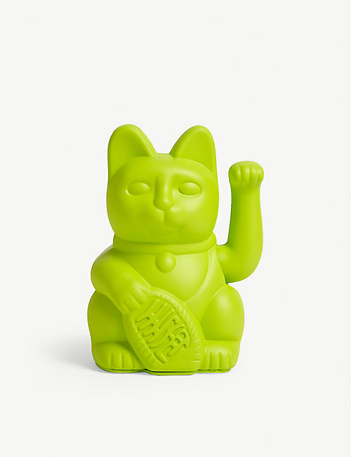 DONKEY PRODUCTS Neon green lucky cat figurine 15cm x 10cm