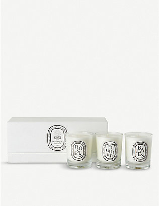 DIPTYQUE: Baies, Figuier and Roses mini candles 3 x 70g