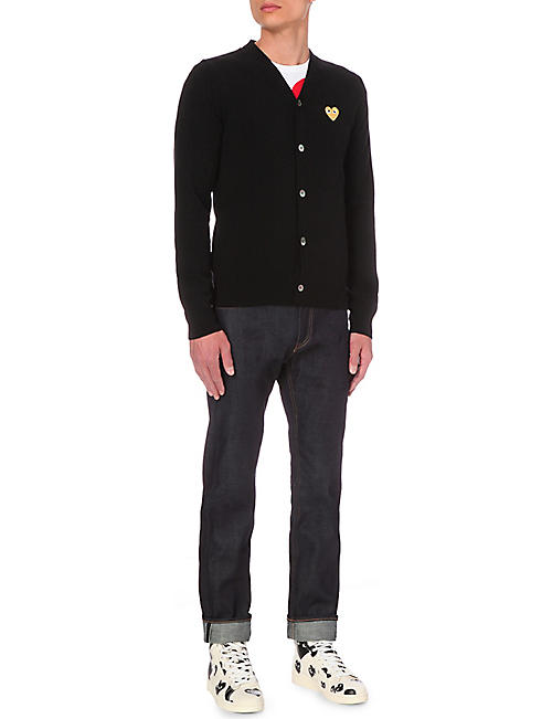 157229871 COMME DES GARCONS PLAY play gold heart wool cardigan