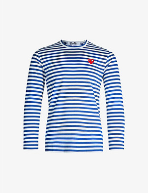 COMME DES GARCONS PLAY Striped cotton-jersey top