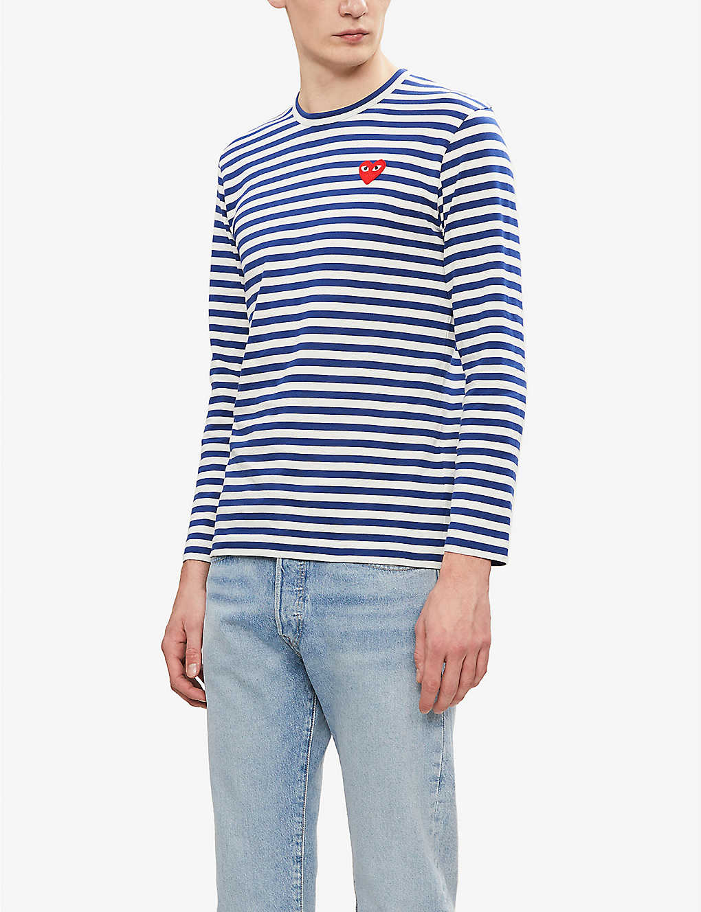 COMME DES GARCONS PLAY: Striped cotton-jersey top