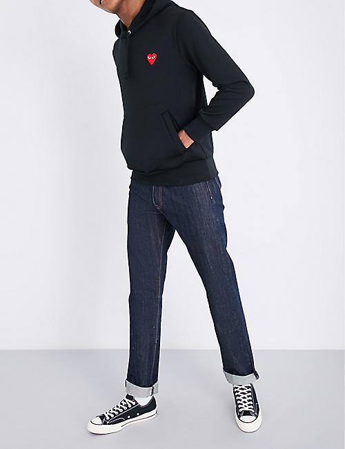 COMME DES GARCONS PLAY Heart-appliquéd stretch hoody