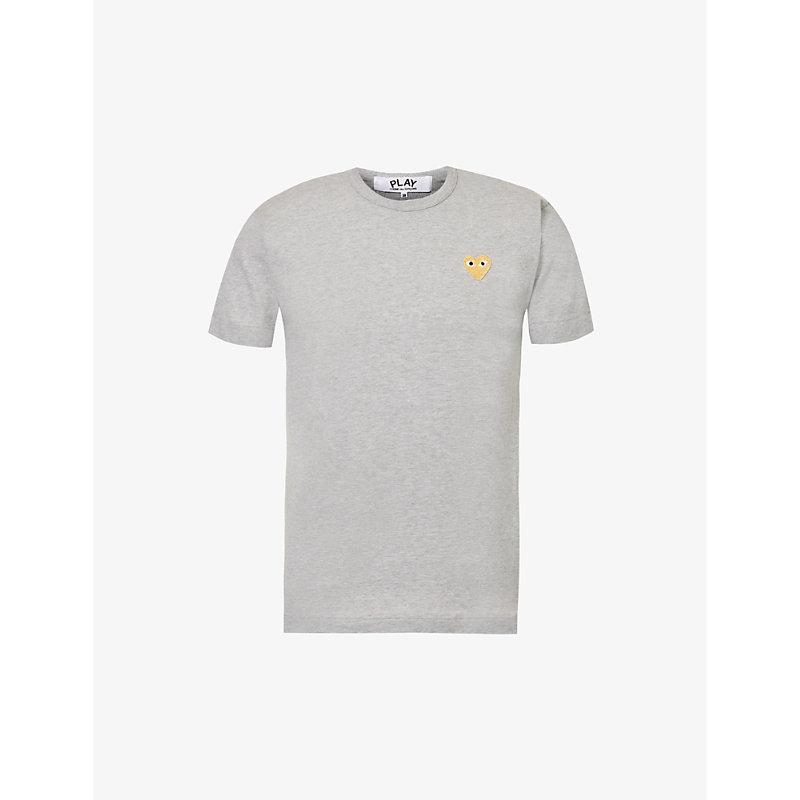 COMME DES GARÇONS PLAY | Comme Des Garcons Play Logo-Embroidery Cotton-Jersey T-Shirt, Mens, Size: M, Grey | Goxip