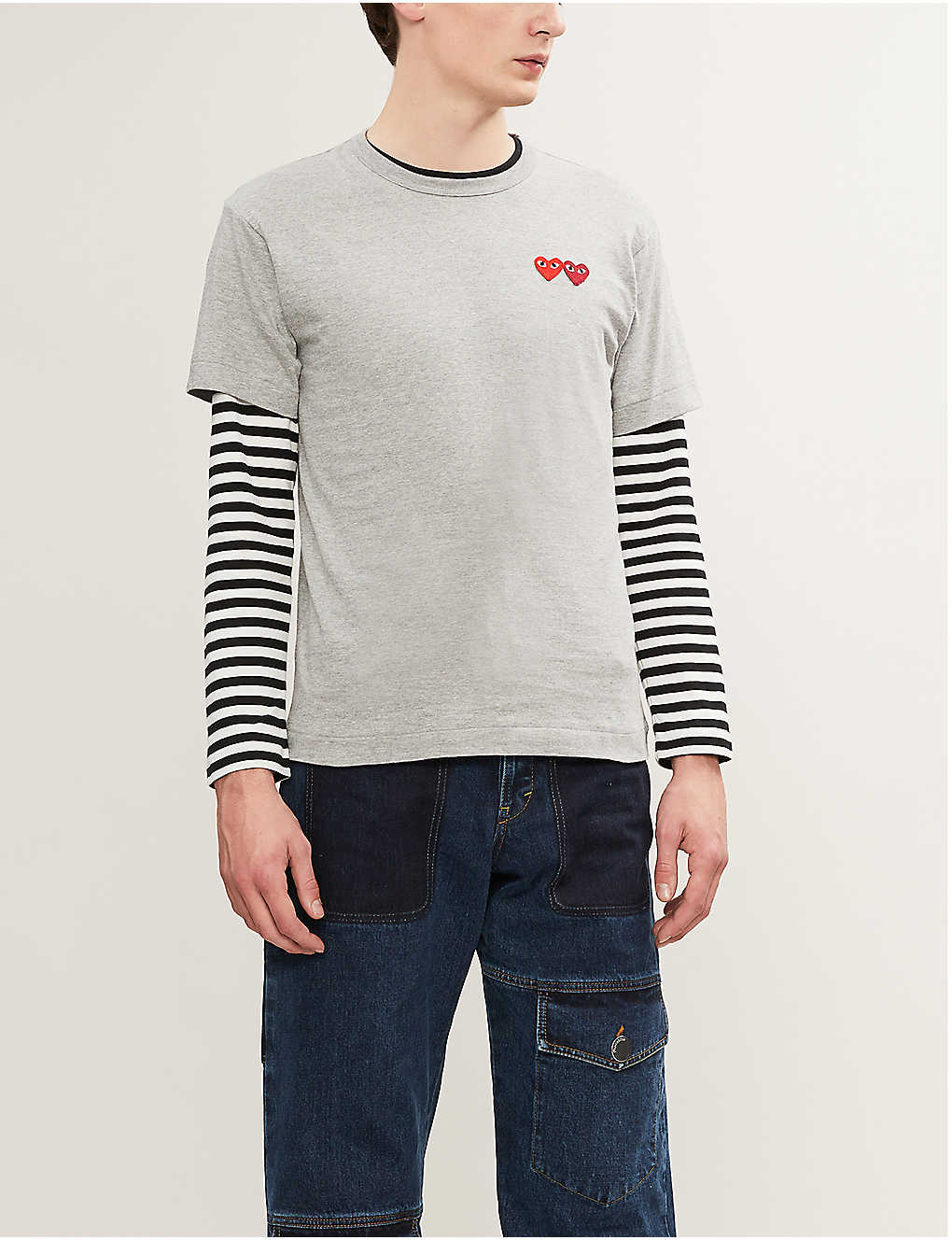 COMME DES GARCONS PLAY: Heart-embroidered cotton-jersey T-shirt