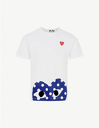 COMME DES GARCONS PLAY: Polka-dot logo-print cotton-jersey T-shirt