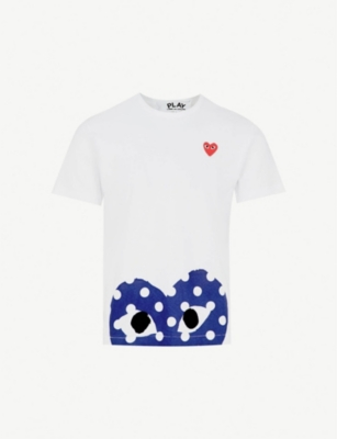 COMME DES GARCONS PLAY Polka-dot logo-print cotton-jersey T-shirt