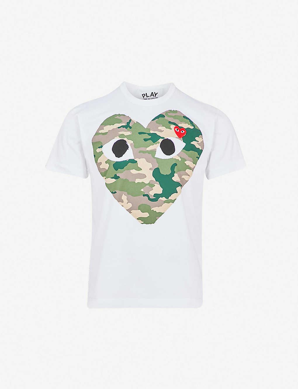42a4300107ba COMME DES GARCONS PLAY - Big heart camouflage cotton-jersey T-shirt ...