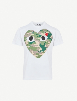 COMME DES GARCONS PLAY Big heart camouflage cotton-jersey T-shirt