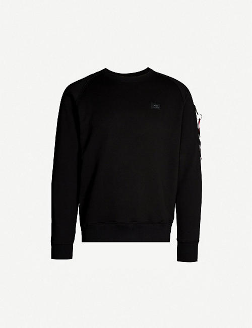 ALPHA INDUSTRIES Logo-embroidered cotton-blend sweatshirt