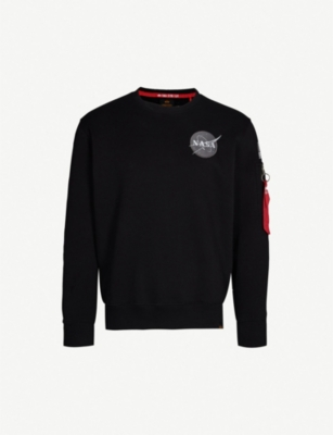 ALPHA INDUSTRIES Appliquéd cotton-jersey sweatshirt