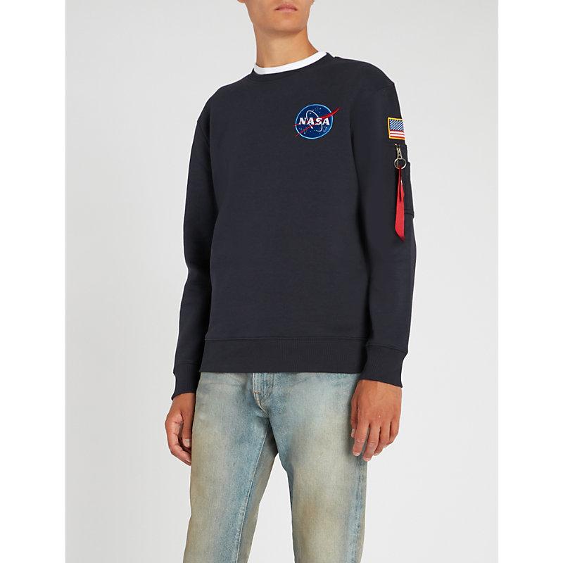 Alpha Industries AppliquÉd Camo-print Cotton-jersey Sweatshirt In Repl. Blue