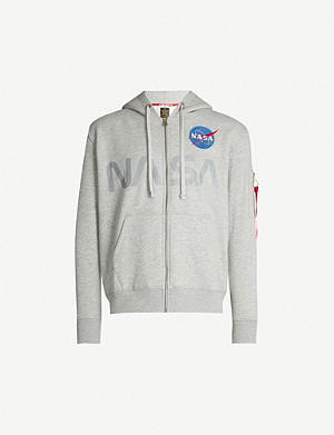 ALPHA INDUSTRIES Nasa-print zipped cotton-blend jersey hoody