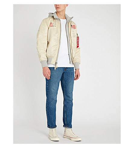 ALPHA INDUSTRIES Ma-1 D-Tec Blood Chit Shell Bomber Jacket in Vintage White