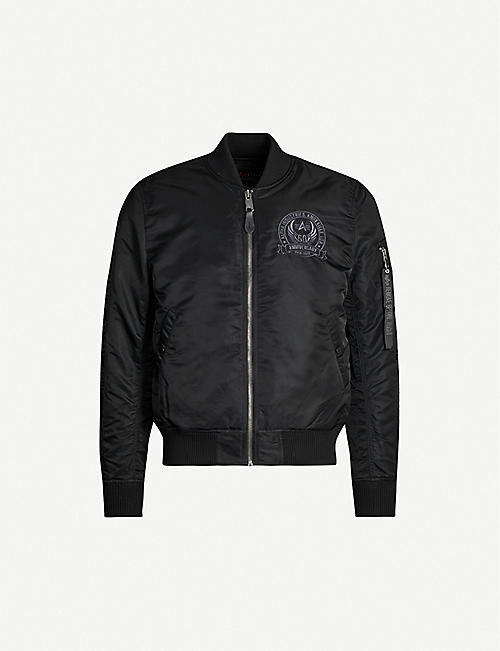 ALPHA INDUSTRIES Brand-embroidery shell bomber jacket