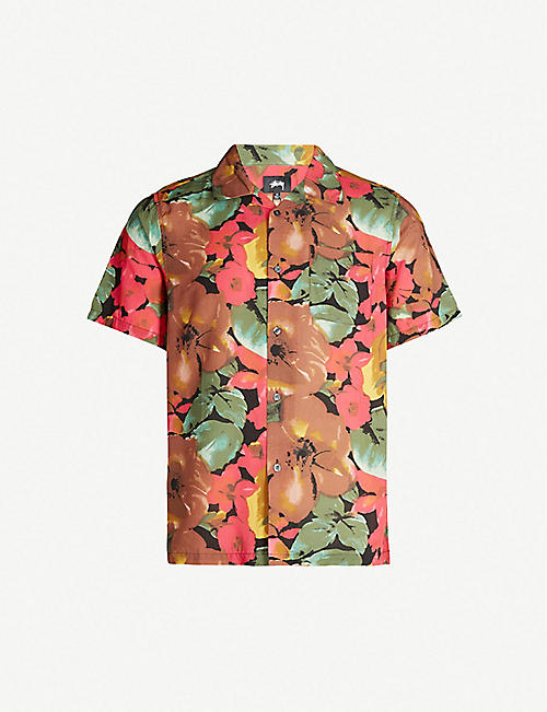 200314cc0b7fa STUSSY Floral-print relaxed-fit rayon shirt