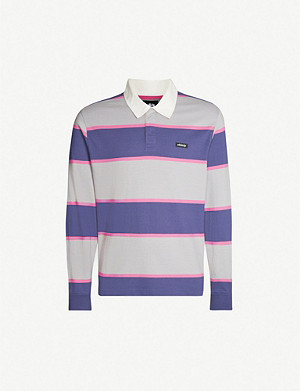 STUSSY Blake striped cotton-knit rugby shirt