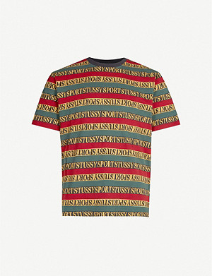 STUSSY Brand-striped crewneck cotton-jersey T-shirt