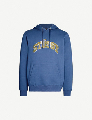 STUSSY Logo-appliquéd cotton-blend hoody