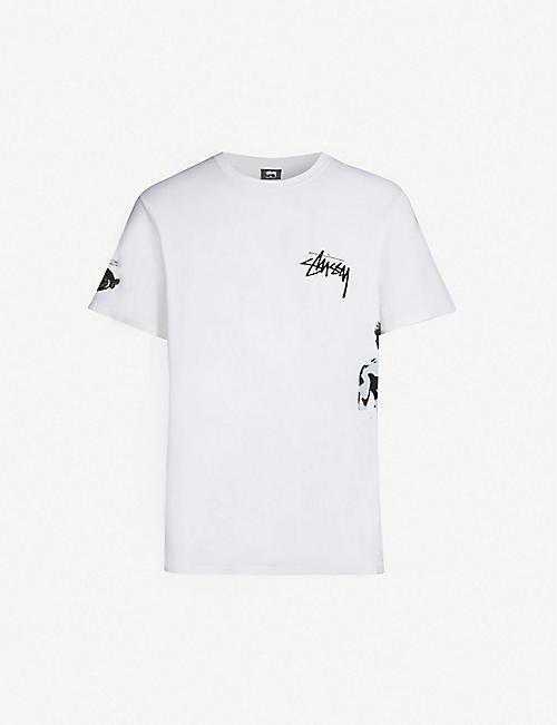 STUSSY Art-print oversized cotton-jersey T-shirt efd7725c090